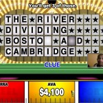 Wheel of Fortune using Scrabble crossword board